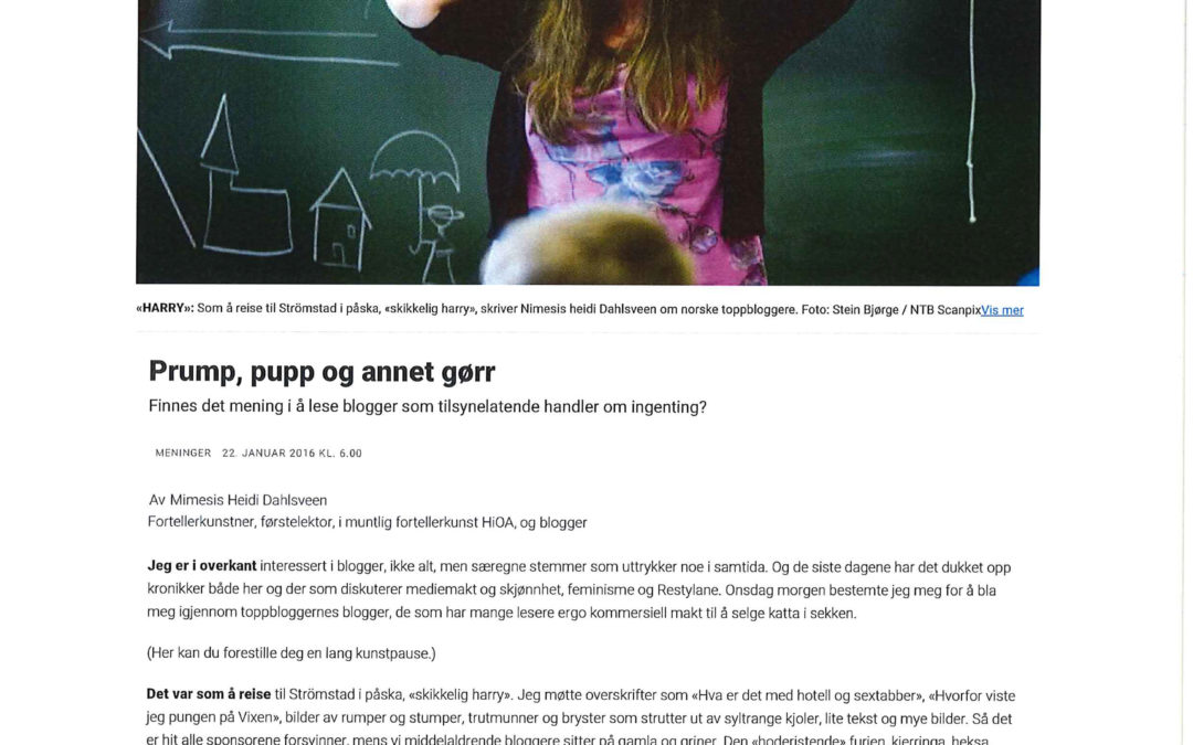 Prump, pupp og annet gørr Dagbladet 2016