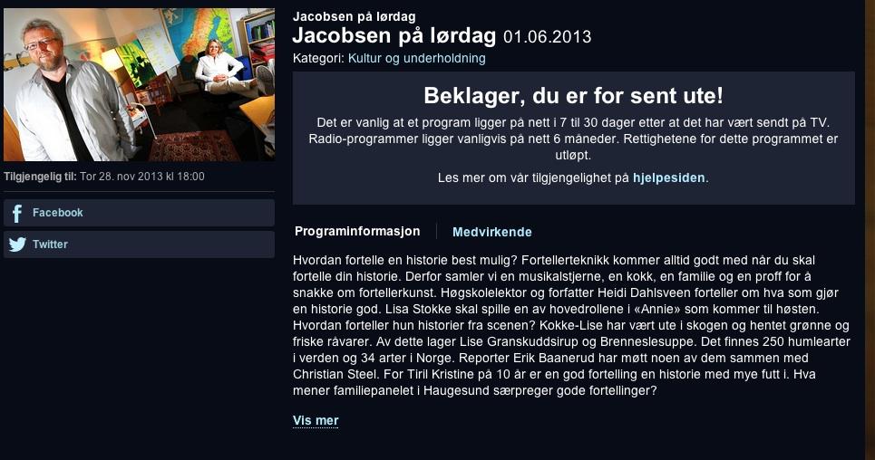 Jacobsen på lørdag 2013