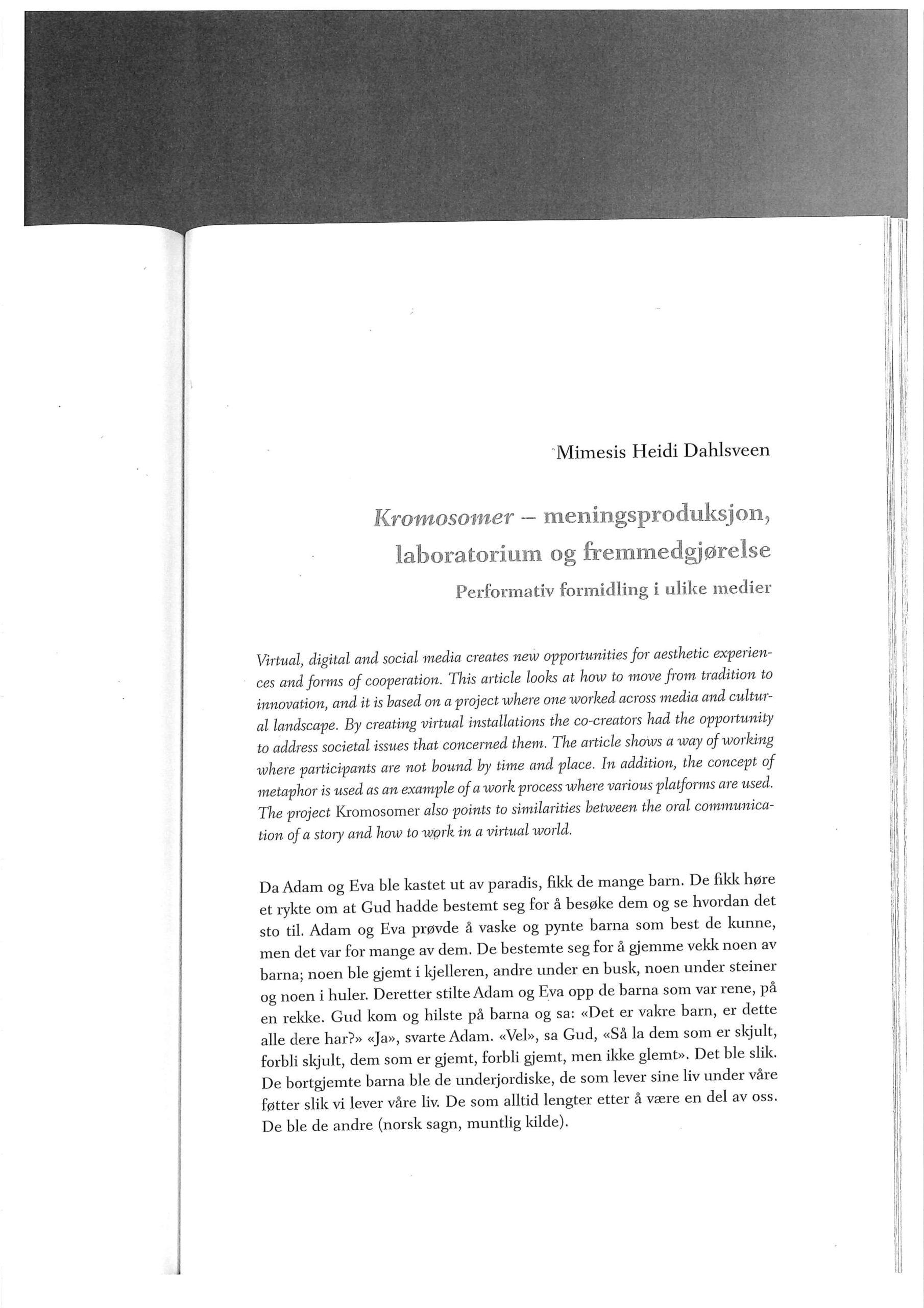 Kromosomer – meningsproduksjon – 2013